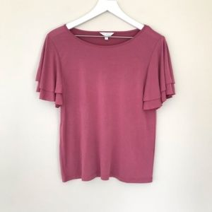 Lucky Brand Super Soft Flutter Sleeve Top Size S